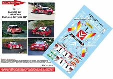 DÉCALS 1/32 réf 371 Citroën Xsara Kit Car Loeb - Elena Champion de France 2001