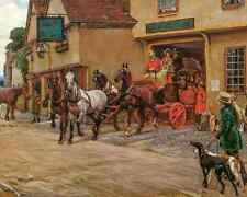 Stagecoach Leaving the George by Cecil Aldin  Art Old England Inn 8x10 Print 605