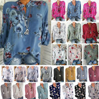 Womens Summer Long Sleeve Casual V Neck Baggy Tops Loose Floral Blouse T Shirt L