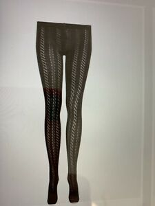 BRORA PATTERNED CASHMERE TIGHTS IN BLACK SzM STRAIGHT LINE PATTERN NOT CABLE!