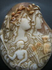 ANTIQUE VICTORIAN  GREEK GOD & GODDESS CARVED SHELL CAMEO FOR BROOCH ECT