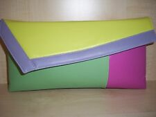 COLOUR BLOCK  YELLOW, LILAC, PINK & MINT GREEN clutch bag, Faux leather