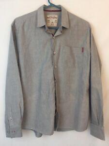 Authentic Apparel Hush Puppies Grey Dress Shirt Size L