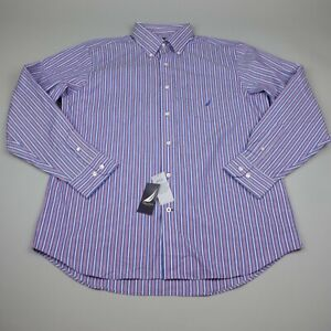 Nautica Button Up shirt Mens Large Classic Fit Shirt Striped Wrinkle Resistant