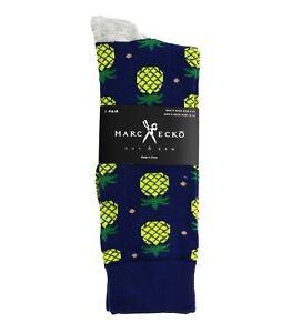 """Marc Ecko """"Pineapple"""" Blue Novelty Casual Dress Socks Men's Shoe Size 6-12"""