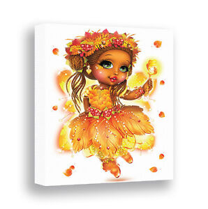 Fall Fairy Wall Art African American Girls Room Decor Fairy Picture Canvas Print