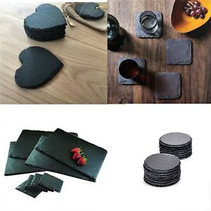 Natural Slate SQUARE ROUND HEART Coasters Coffee Table Drinks 10x10cm