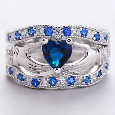 Blue Claddagh Crystal 3 Set Rings Silver Plated Hand Love Heart Crown Wedding