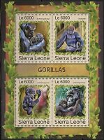 SIERRA  LEONE 2016  GORILLAS  SHEET  MINT NH
