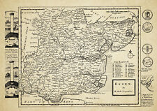 Essex  County Map by Herman Moll 1724 - Reproduction
