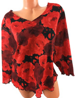 Fashion bug red roses print v neck ruched 3/4 sleeve stretch plus top 26/28