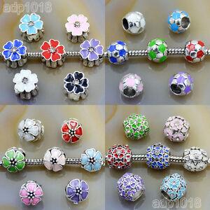 Multicolor Tibet Silver Big Hole Spacer Beads Fit European Bracelet Wholesale