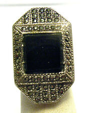 VINTAGE STERLING SILVER MARCASITE ONYX RING ART DECO SIZE 3.25  SYBOLL