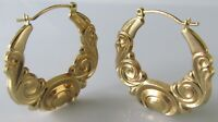 Vintage 9ct yellow gold pattern hollow (2.9g) round hoop earrings (snap shut)