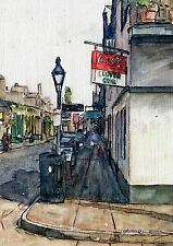 """SIGNED Hand Painted Art FRENCH QUARTER and JACKSON SQUARE, NOLA """"Clover Grill"""""""