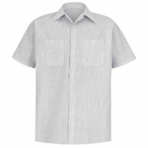Men's Red Kap Short Sleeve Industrial Stripe Work Shirt White Charcoal Size S