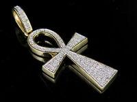 "Men's 10K Yellow Gold Genuine Diamond Egyptian Ankh Cross Pendant 3/10 Ct 1.4"""