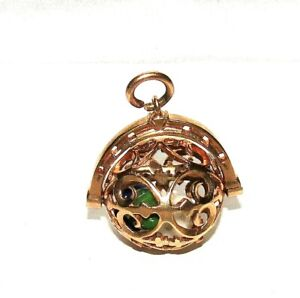 UNIQUE VINTAGE 9ct YELLOW GOLD RARE THREE DICE SPINNER ORB CHARM/PENDANT, 6.8g