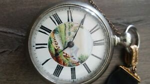 Painted Dial Pocket Watch Vintage