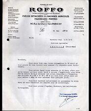"""PARIS (XI°) OUTILS & PIECES détachées de MACHINES AGRICOLES """"ROFFO"""" en 1962"""