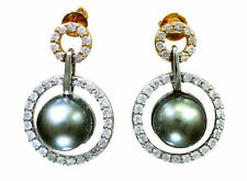 1.0 ct Perlas De Tahiti Y Diamantes Aros Colgantes En 18 K oro blanco