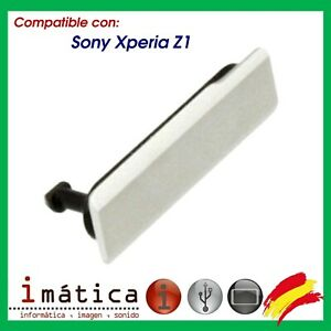 TAPA LATERAL BLANCA CARGA MICRO USB PARA SONY XPERIA Z1 L39H C6903 CUBIERTA