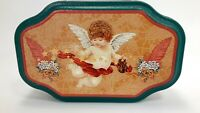 Small  Angel Cherub Collectible Tin Green Gold Decorative Metal Box Container