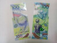 100% Original 100 RUBLES Russia FIFA 2018 World Cup Polymer UNC FROM bundle
