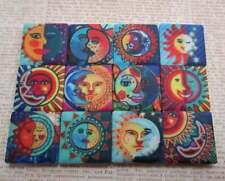 Ceramic Mosaic Tiles - 12 Piece Mixed Set - Sun And Moon Faces Designs Mosaic