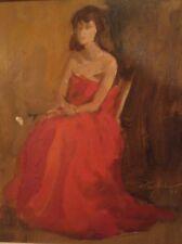 """Bashful Model"" in Red Dress Oil Painting - 1966- Stuart Kaufman"