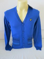 "LYLE & SCOTT VINTAGE LONG SLEEVE FAIR ISLE POCKET CARDIGAN TRUE BLUE NEW 35"" XS"