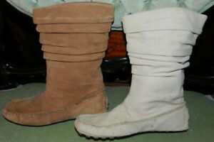 DEXTER BOOTIES - 2 Pair  6.5M Leather Moccasin Slouchy Short Boot - Beige, Tan