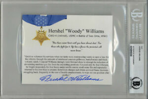 HERSHEL WILLIAMS SIGNED BIOGRAPHY CARD MEDAL OF HONOR IWO JIMA MOH BECKETT BAS
