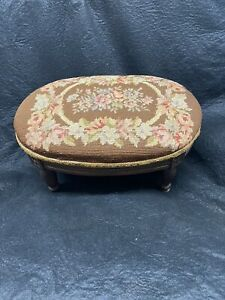 French needlepoint footstool antique hand carved oval shape vintage