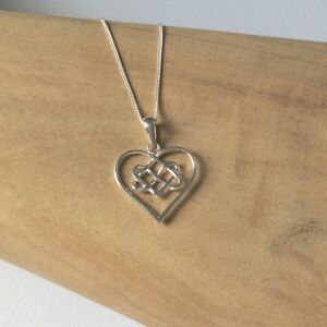 """925 Sterling Silver infinity knot heart pendant with 18"""" chain"""