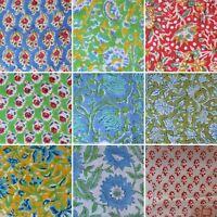 Indian Handmade Hand Block Print Cotton Fabric Sanganeri Vintage Natural Printed