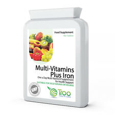 Multivitamin & Iron 180 Tablets - One A Day Vegan Multi Vitamin for Men & Women