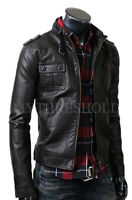 Men's Biker Motorcycle Black Cafe Racer Real Leather Jacket
