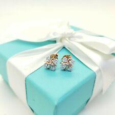 Tiffany & Co 18K Rose Gold & Platinum Schlumberger Diamond Lynn Earrings RP$3000