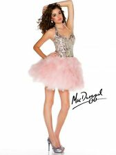Mac Duggal Halter sequin bustier prom dress Ice Pink size 8 new