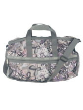 LeSportsac Womens Bag Duffle Tote Travel Purse Weekender Butterflies Gray White