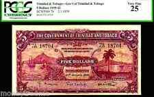 "TRINIDAD & TOBAGO P7b ""SAILING SHIPS ON HARBOUR"" 1939 $5 ""PORT OF SPAIN"" PCGS 25"