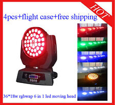 4pcs 36*18W RGBWAUV 6 in 1 Led Moving Head Zoom Wash Light Free Shipping