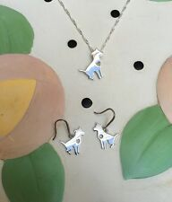 Sitting Pit Bull Sterling Silver Necklace & Earrings Set - New - FREE SHIPPING