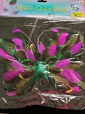 New Nip Mardi Gras Feather Face Mask One Size Men Women Purple Green Halloween