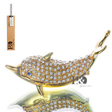 Dolphin Crystal Metal Trinket Boxes Figurine Jewelry Collectibles Wedding Gifts