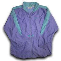 VINTAGE Reebok Jacket Adult Green Purple 90s Windbreaker Zip-up Men's Size M