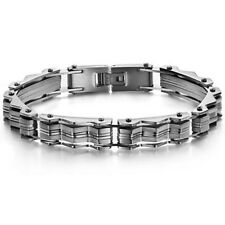 MENS STYLISH KOREA & JAPAN FASHION SILVER TITANIUM STEEL BRACELET 8in