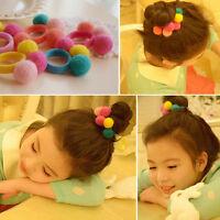 5/10X Elastic Girl Pompom Ball Hairband Rope Ring Hair Band Ponytail Holder NWQW