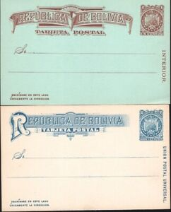 BOLIVIA, 1887-90. Post Cards H&G 1-4, Mint.
